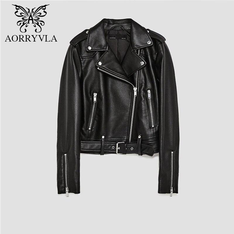 AORRYVLA Marque Faux veste en cuir Pour Femmes Printemps 2019 Noir Court Fermeture Éclair Manches Complètes de Vélo Dames De Base Vestes bonne qualité