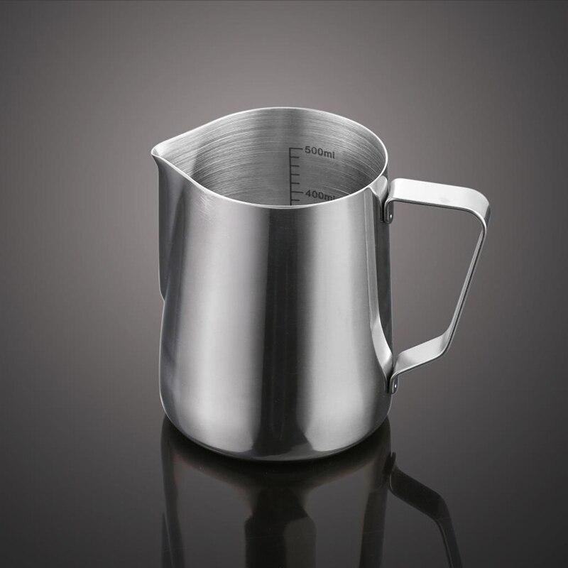 Süt köpürtme sürahisi, Kalınlaşma Paslanmaz Çelik Kahve Buharda Sürahi Ölçümleri Ile Içinde, 350/600 ml