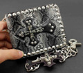 Punk Skull Cross Chain Leather Biker Wallet Purse Mens Hip Hop With Metal KeyChain