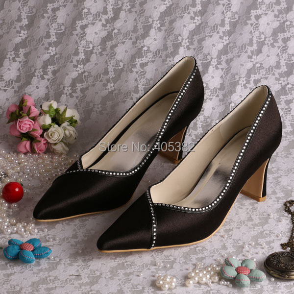 (20 Colors)Custom Handmade 2015 Pointed Toes High Heel Women Pump Shoes Black Satin