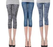 Hot Sale Casual Imitation Cowboy Printed Leggings High Elastic Slim Thin Feet Leggings Women Fashion Blue Black Good Quality