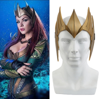 Justice League Costume Aquaman Queen Mera Cosplay Mask Helmet Halloween Party Props Christmas Gift PVC Golden Mask Accessories