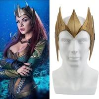 Justice League Costume Aquaman Queen Mera Cosplay Mask Helmet Halloween Party Props Christmas Gift PVC Golden Mask Accessories