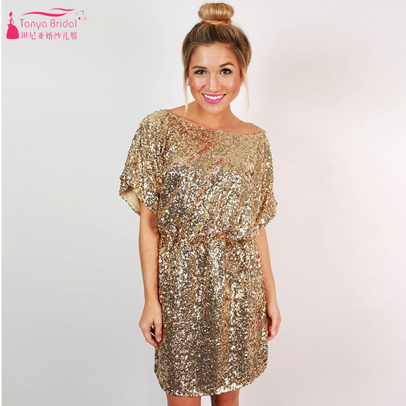 Short Knee Length Gold Sequined Bridesmaid Dress Party