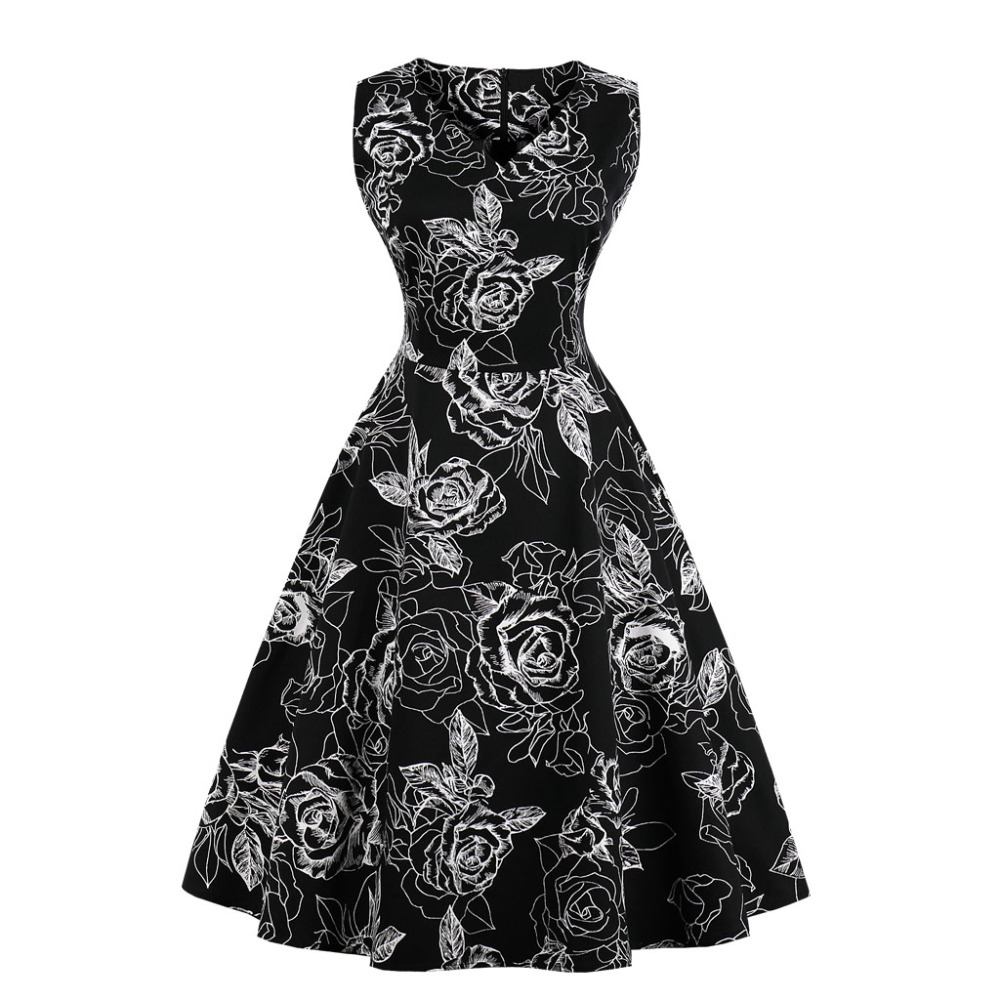 33d837071ae03 2018 new summer dress Rushed Spandex Cotton Robe Women New Vintage Dress  50s 60s Retro Sleeveless Summer Rockabilly Swing Party