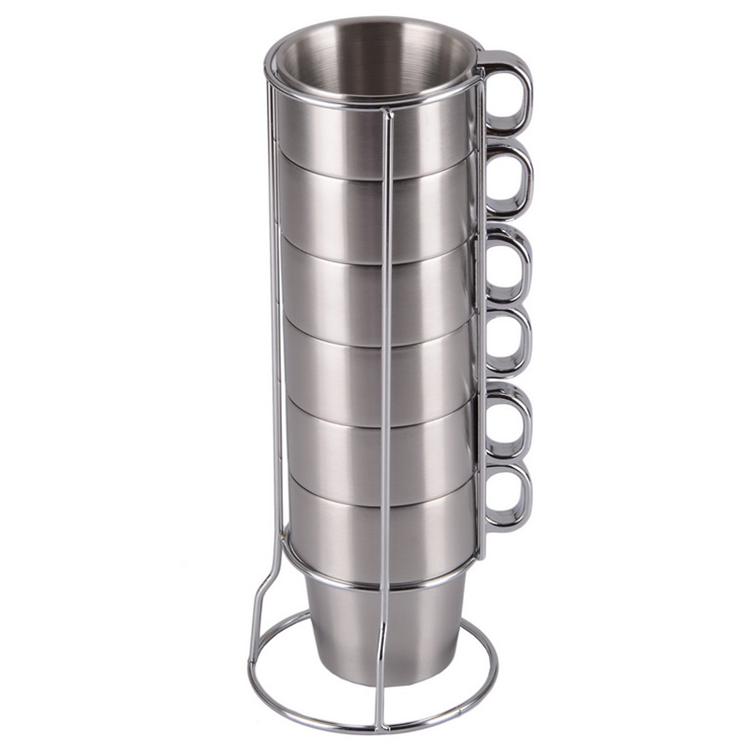 Hot Sale Brief Stainless Steel Coffee mug Solid Color Coffee cup sell by set 6 cups