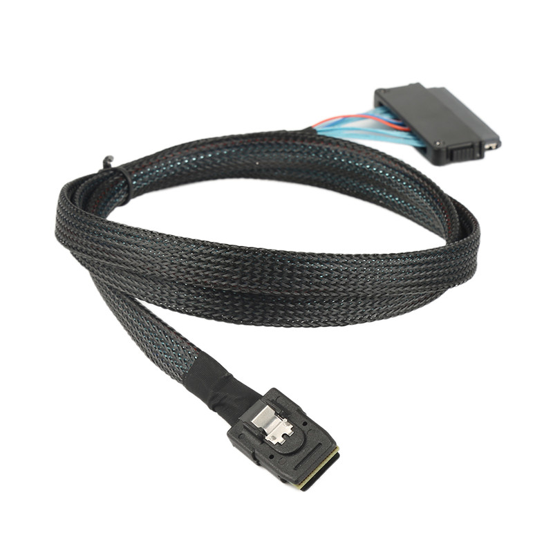 High quality 1 to 4 SAS / SATA cables Mini SAS SFF8087 to 4 SFF8484 cable adapter Mini SAS 32P 1 meter Internal SAS Cable 1 5ft 0 5m slim line sas 4 0 sff 8654 4i 38pin host to 4 sata 7pin target hard disk fanout raid connecting cable 50cm