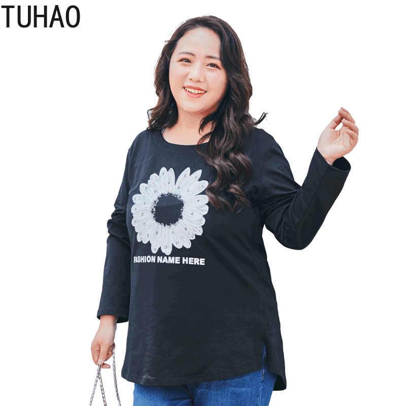 TUHAO 7XL 6XL Блузка Топы корректирующие женские элегантные с длинным рукавом черный Повседневная Блузка Уличная Хлопок Кнопка печати PQ04