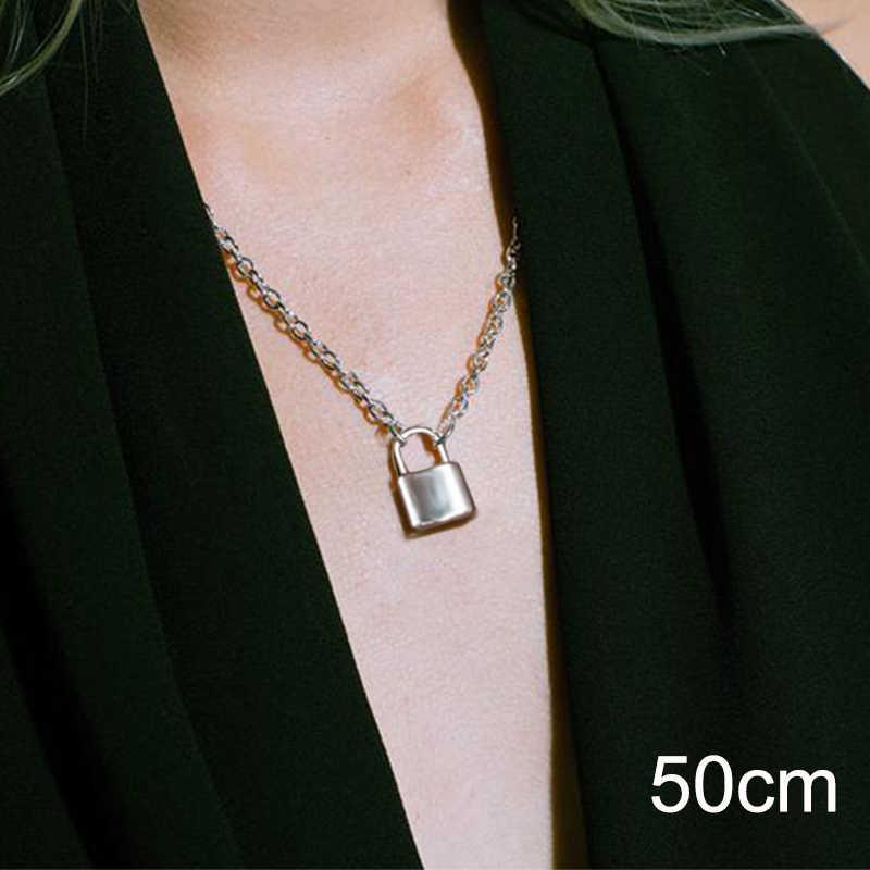 Stal nierdzewna kolor srebrny kłódka wisiorek naszyjniki Brand New link łańcuch z zamknięciem naszyjniki kołnierz ras du cou collier femme kobiety