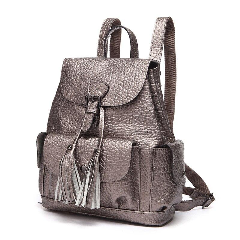 ZENCY plecak projektant mody prawdziwej skóry projektant dla dziewczyn srebrny szary/czarny/czerwony szkoły plecaki codzienne torba kobiet dziewczyny w Plecaki od Bagaże i torby na  Grupa 2