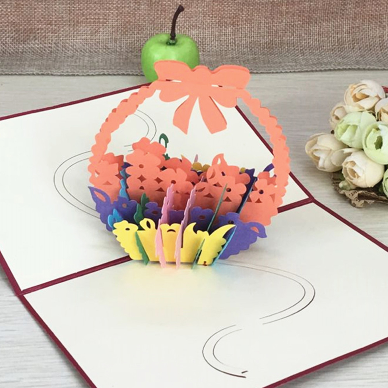 1pcs Flower Baskets Laser Cut Kirigami 3D Pop UP Greeting & Gift DIY Cards Handmade Creative Thanksgiving Day Birthday Gifts (4)