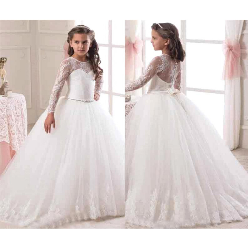 00b301b56bec Hot Sale 2016 Long Sleeve Flower Girl Dresses for Weddings Lace ...