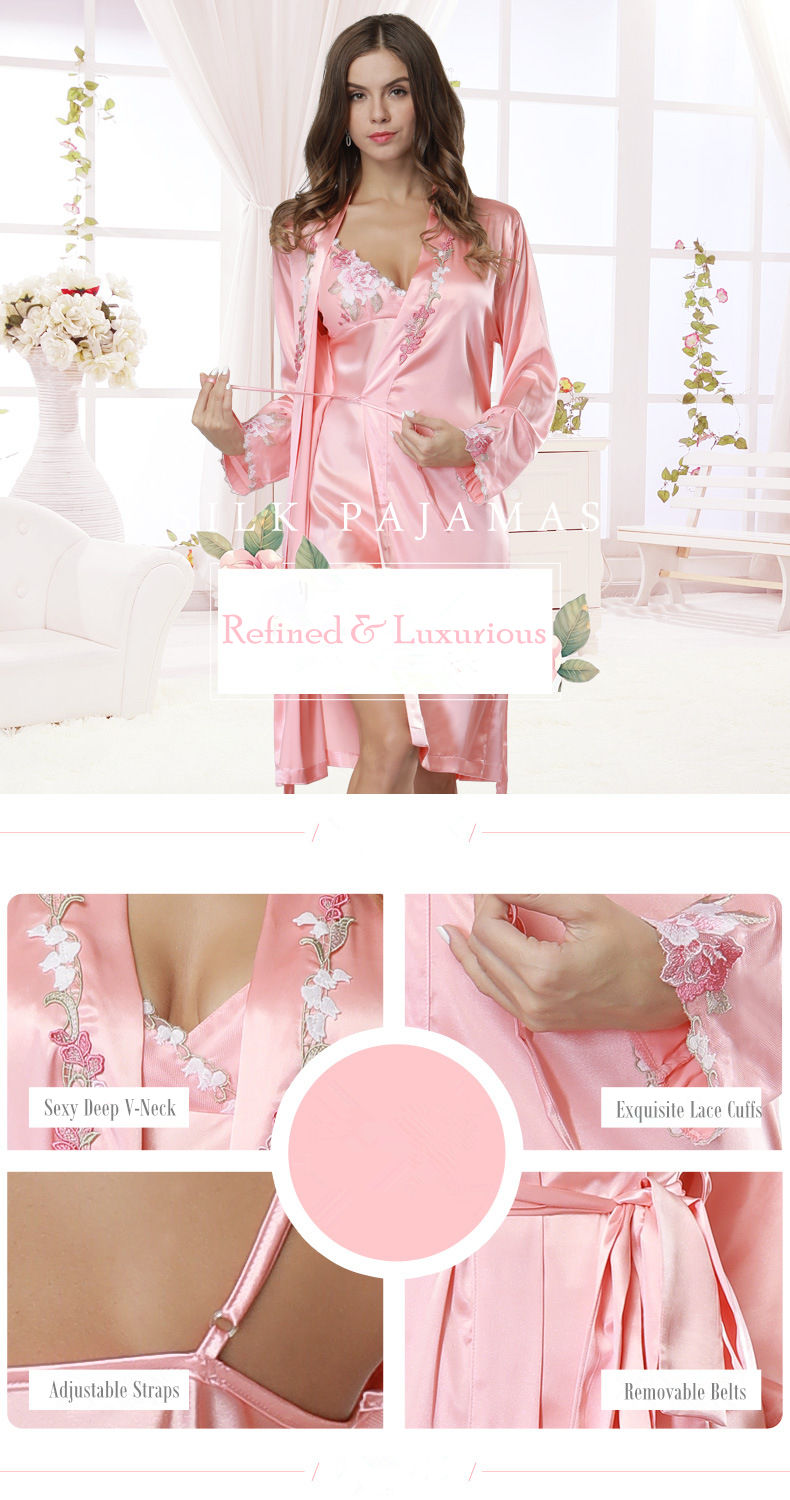 f5903299d9e 2019 Exquisite Silk Robe   Gown Sets Embroidered Bathrobes Silk Dressing  Gowns for Women Satin Robe Sexy Padded Satin Night Gown