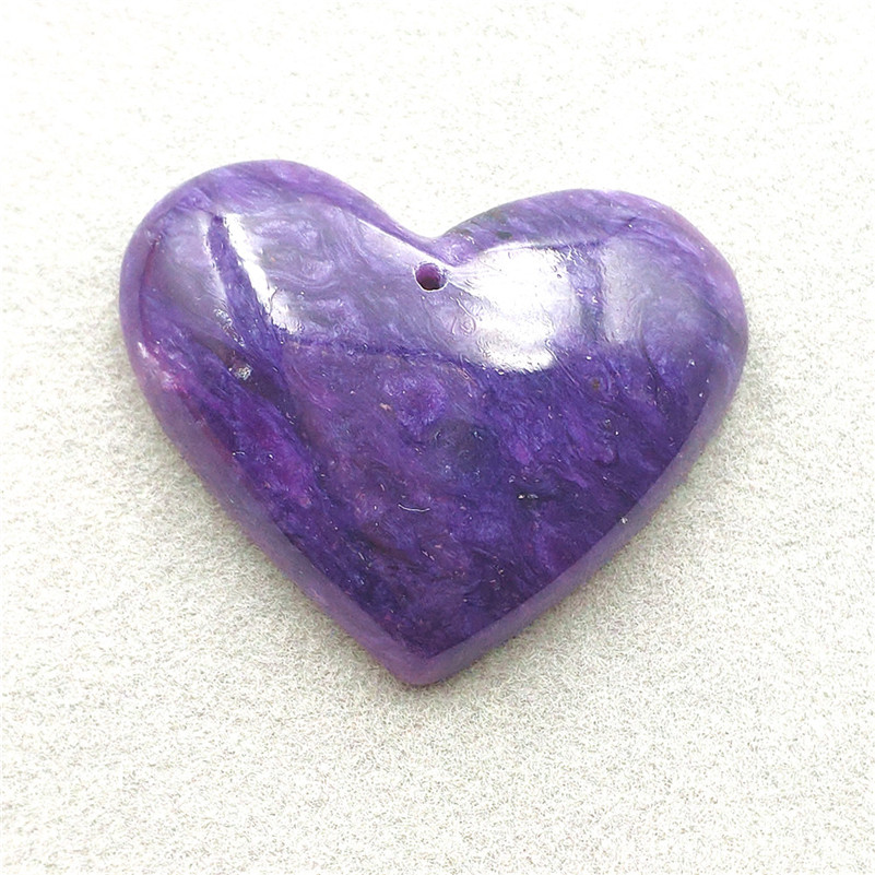 Natural Purple Charoite Necklace Pendant Heart Gemstone 35x28x9mm Women Men Anniversary Love Gift Fashion Pendant Jewelry AAAA
