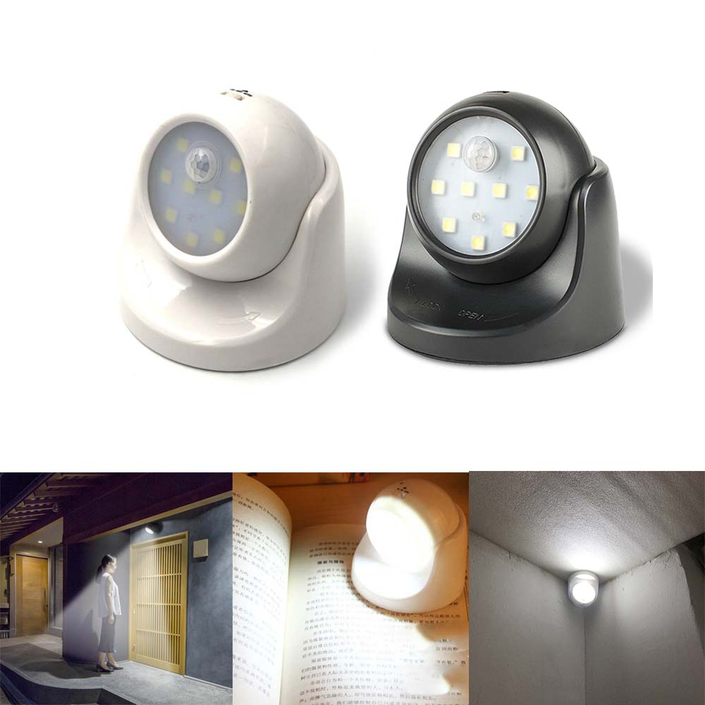 360 Degree 9 LED Motion Sensor Nightlight 3 Modes Corridor Wall Night Light Auto On/Off Wireless Security Closet Hallway Light