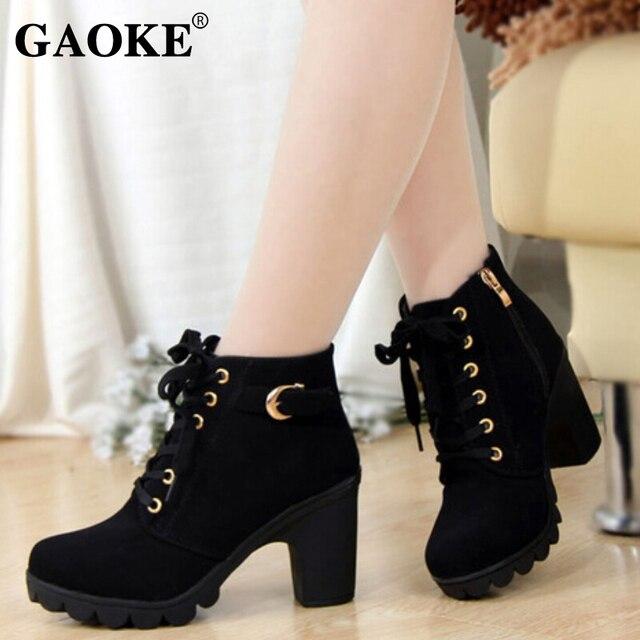Sonbahar Kış 2018 Kadın çizmeler kadın ayakkabıları Bayanlar Kalın Kürk yarım çizmeler Kadın Yüksek Topuk Platformu kauçuk ayakkabı Kar Çizmeler