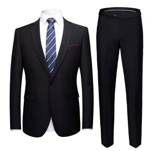 Image 2 - Conjunto de traje de boda de talla asiática para hombre, 2 uds., Blazers, trajes de corte entallado de calidad, traje Formal de negocios, fiesta, azul, clásico, negro