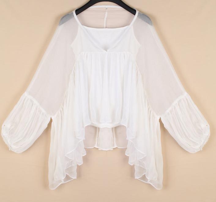 Брендовая подиумная шелковая рубашка с асимметричным подолом и v-образным вырезом, Женская белая рубашка с рукавами «летучая мышь» - Цвет: Белый