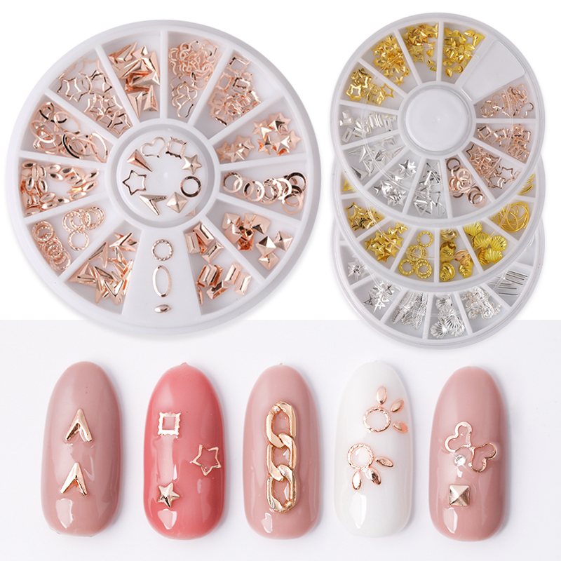 Rose Gold Geometry Studs Gold Silver Rivets Alloy Star Round Triangle 3D Manicure Nail Art Decoration in Wheel