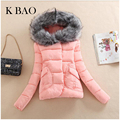 2016 Autumn Winter Jacket Women Parkas for Coat Fashion Female Down Jacket With a Hood Large Faux Fur Collar Coat Pink Red Blue