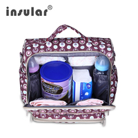 Insular Waterproof Nylon Big Maternity Suitcase for Newborn Baby Care with Wet Bag Diaper Changing Pad Infant Stroller Bag 10025