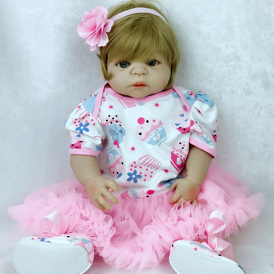 57 cm Full Silicone Reborn Baby Doll Girl Toys Lifelike 23 inch Babies Doll Full Vinyl Fashion Princess Bebe Reborn kids Partner цена