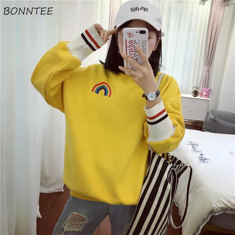 Hoodies & Sweatshirts Aggressive Hoodies Women Harajuku Trendy Print Plus Velvet Loose Simple Daily Long Sleeve Sweatshirt Student Cute Casual Womens Clothing