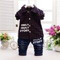 Otoño Del Resorte de Los Bebés Plaid Solapa Cuello de La Blusa Camisas Tops + Denim Jeans Pantalones 2 unids Trajes Niños Establece conjunto roupas de bebe