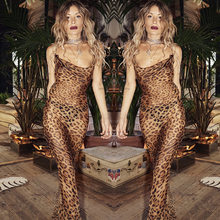 New Sexy Evening Dresses Leopard Spaghetti Strap illusion Gown Party Prom Dresses 2019 Hot Sale(China)