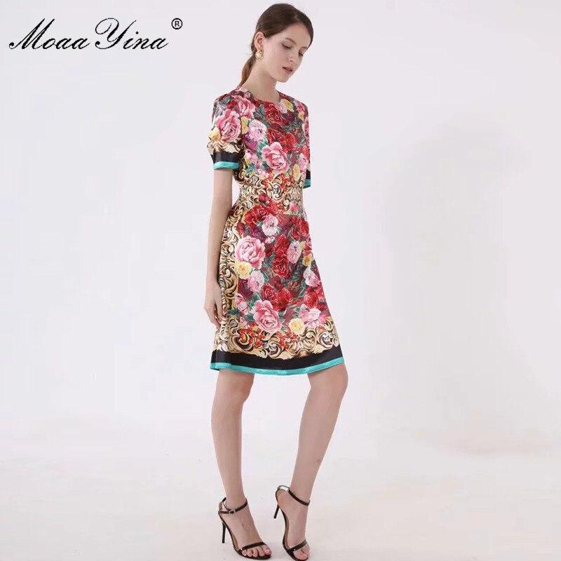 MoaaYina แฟชั่นรันเวย์ฤดูใบไม้ผลิฤดูใบไม้ผลิผู้หญิงชุดแขนสั้นดอกไม้ พิมพ์ Slim Elegant Vintage Dresses-ใน ชุดเดรส จาก เสื้อผ้าสตรี บน   3