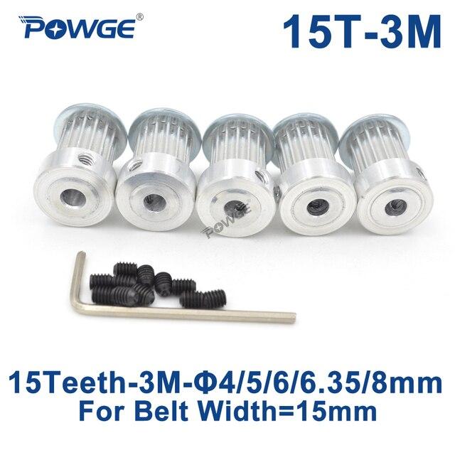 Powge 5 Chiếc 15 Răng HTD 3M Thời Gian Ròng Rọc Cấu Tạo 4 Mm 5 Mm 6 Mm 6.35 Mm 8mm Cho Chiều Rộng 15 Mm 3M Thời Gian Dây HTD3M Ròng Rọc 15 Răng 15 T