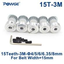 Powge 5 pces 15 dentes htd 3 m polia cronometrando furo 4mm 5mm 6mm 6.35mm 8mm para largura 15mm 3 m correia dentada htd3m polia 15 dentes 15 t