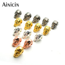 20pcs Shine Skull Head Beads Gun Black Rose Gold Silver Plating Alloy For Jewelry Making Findings