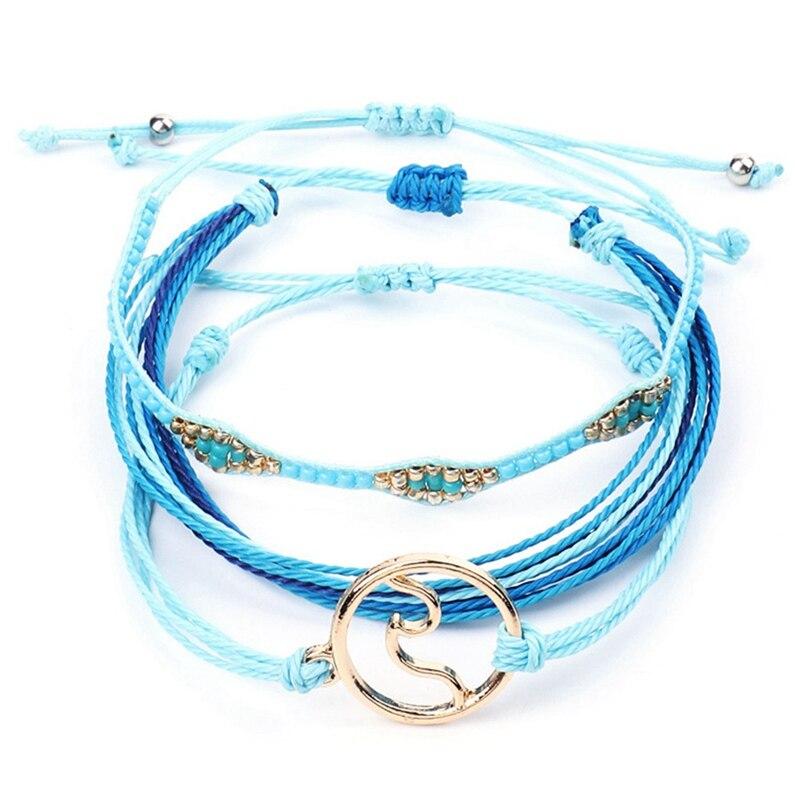 3 pièces/ensemble femmes Costa vie Pure Boho plage Surf Femme à la main vague Bracelet à breloques vague corde cire ligne Bracelet ensemble