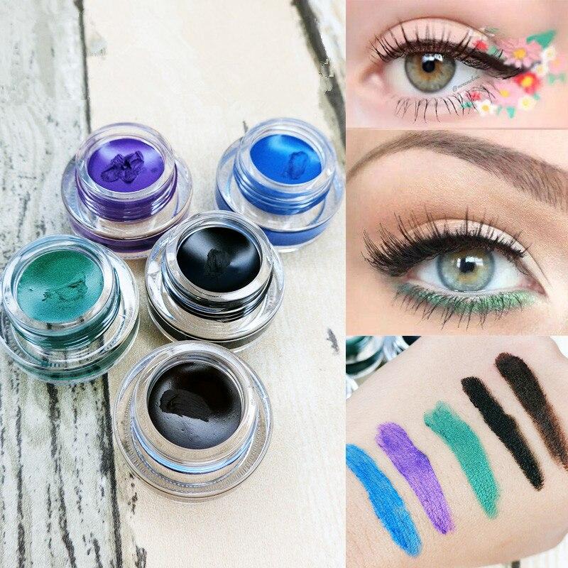 5 สีอายไลเนอร์เจลยาวนาน 24 ชั่วโมง Eye Liner เจลกันน้ำแต่งหน้าสีดำสีฟ้าสีม่วงสีเขียวสีน้ำตาล Eyliner