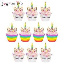 Unicorn Party 24pcs Unicorn Cake Cupcake Wrappers Cake Toppers Baby Shower Kids Unicornio Birthday Party Decorative Supplies