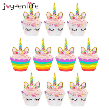 Unicorn Party 24pcs Unicorn Cake Cupcake Wrappers Cake Toppers Baby Shower Kids Unicornio Birthday Party Decorative Supplies 30pcs golden glitter unicorn horn theme cupcake toppers kid s party baby shower decors
