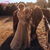 Причудливые Boho Свадебные платья кружево с длинным рукавом GYPSY эффектные хиппи стиль Abiti да sposa Романтический невесты ZW126