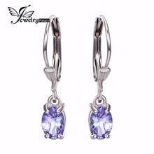 Genuino tanzanita piedra preciosa del diamante pendientes de Clip de la joyería Real Pure 925 plata esterlina sólida 2015 marca nuevo encanto para mujeres