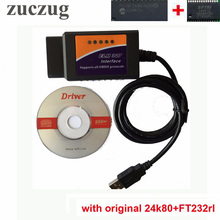 ZUCZUG Elm327 usb original FT232RL and PIC18F24k80 chip with elmconfig software elm 327 usb FT232RL obd scanner high quality