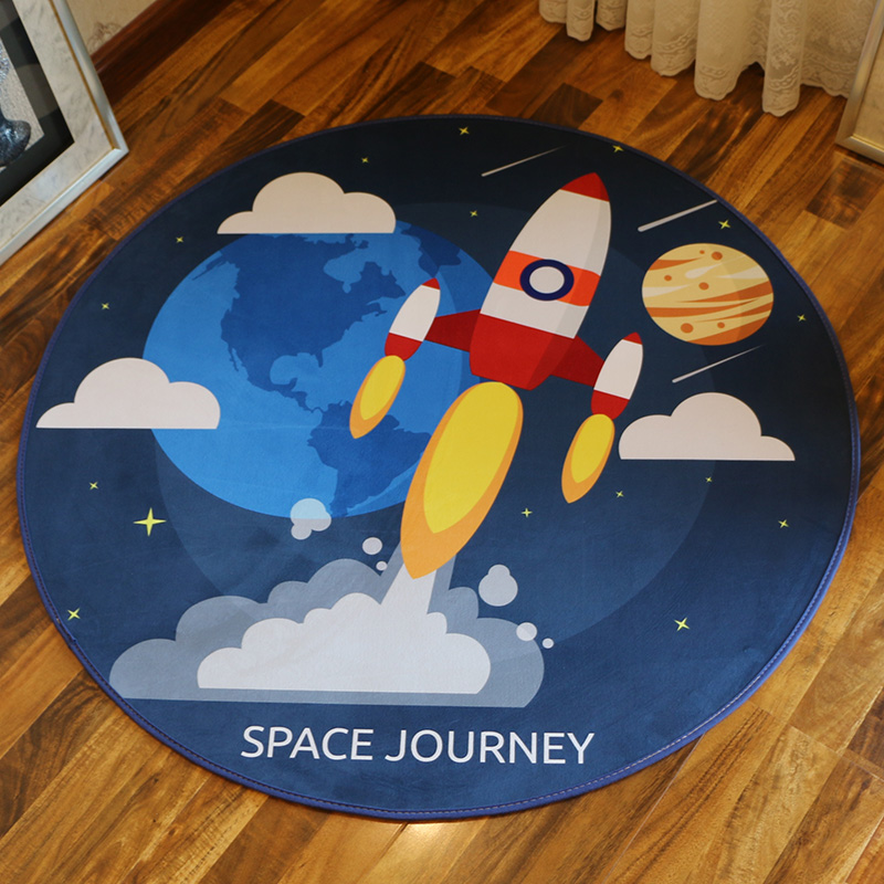 WINLIFE Universal Style Carpets Cartoon Kids Rugs Computer Chair Rugs Round Area Mats For Bedroom Anti- Skid Carpets Galaxy Rug