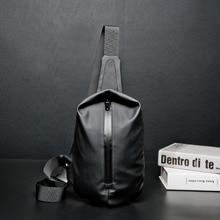 حقيبة صدر للرجال من النيلون الأسود المقاومة للماء ، حقيبة بحزام للحمل ، حقيبة سفر صغيرة للرجال