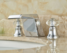 Unique Design Waterfall Basin Sink Mixer Taps Deck Mount Crystal Handles Bathroom Faucet Chrome Brass