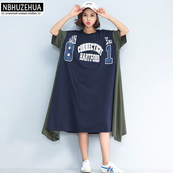 NBHUZEHUA 7G557 Korean Styel Large Size Women Dresses Short Sleeve Letter  Print Summer Dress Plus Size b42fe872c5ac