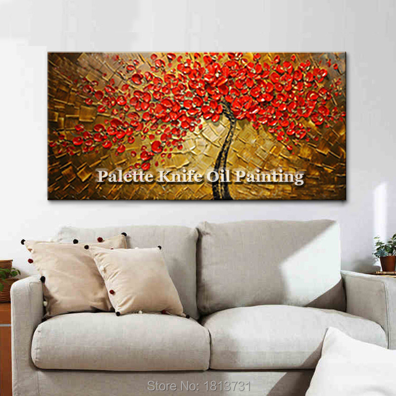 Lienzo Pintura al óleo espátula 3D textura acrílico rojo Flor - Decoración del hogar