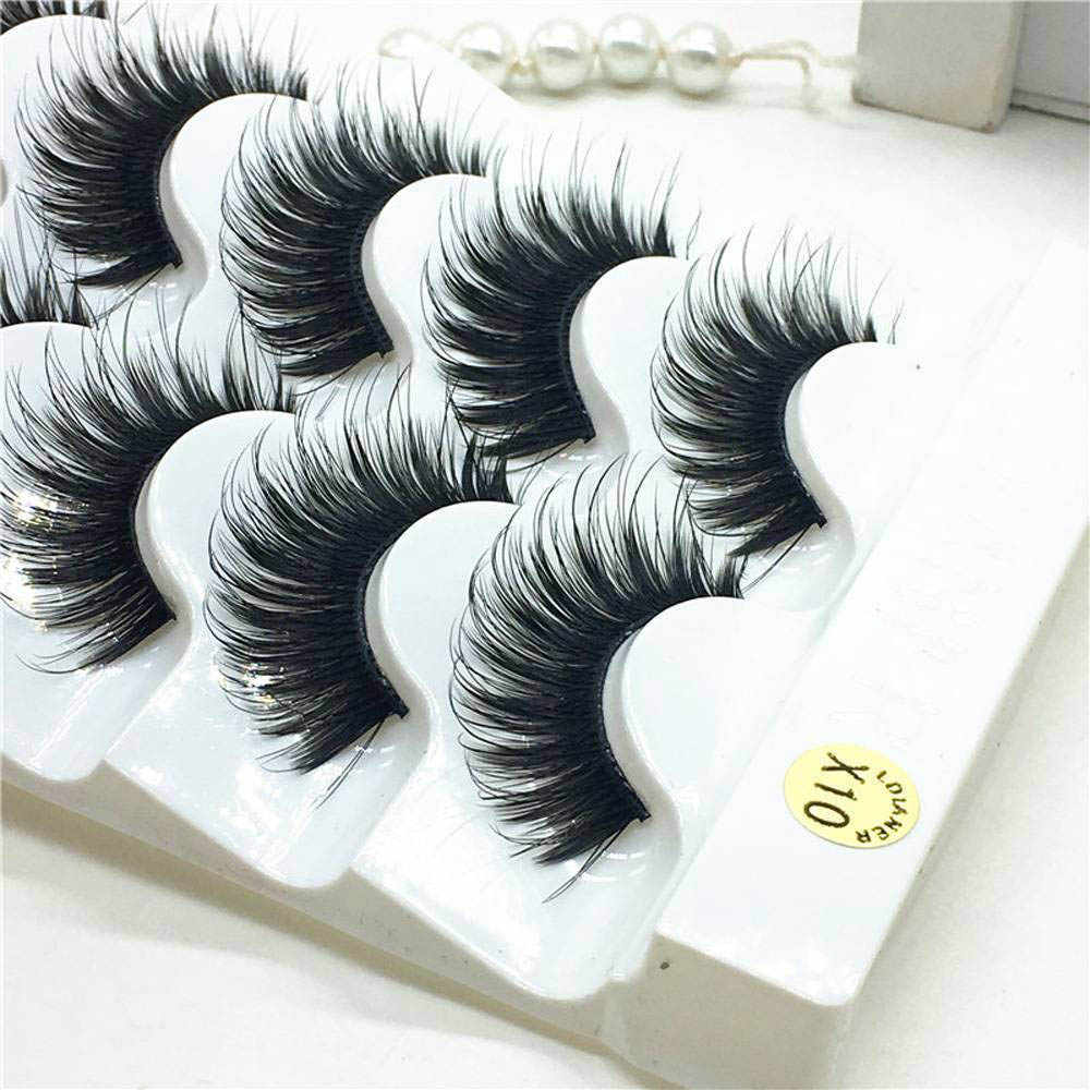 5 pairs eyelashes 3d mink lashes natural long 1 box mink eyelashes 1cm-1.5cm 3d false eyelashes full strip lashes