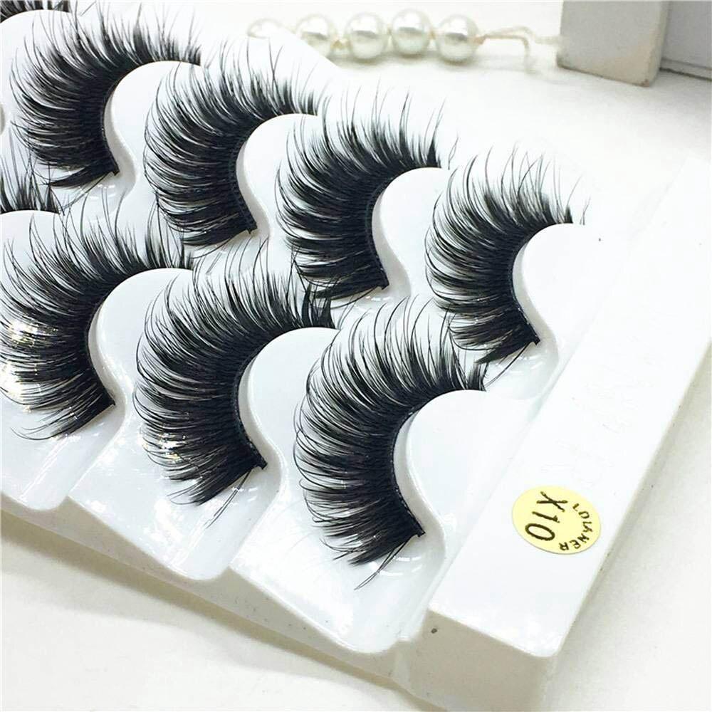 5 Pairs Eyelashes 3d Mink Lashes Natural Long 1 Box Mink Eyelashes 1cm-1.5cm 3d False Eyelashes Full Strip Lashes