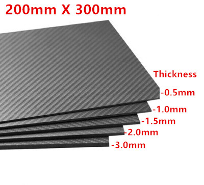 200mm X 300mm 0.5mm 1mm 1.5mm 2mm 3mm <font><b>4mm</b></font> thickness Real <font><b>Carbon</b></font> <font><b>Fiber</b></font> Plate Panel <font><b>Sheets</b></font> High Composite Hardness Material for RC image