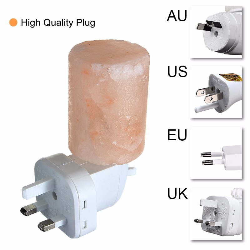 Rotatable Mini Himalayan Salt Night Light Cylinder Shape Wall Lamp Bedside Bedroom Home Decor Novelty Lighting US EU UK AU Plug