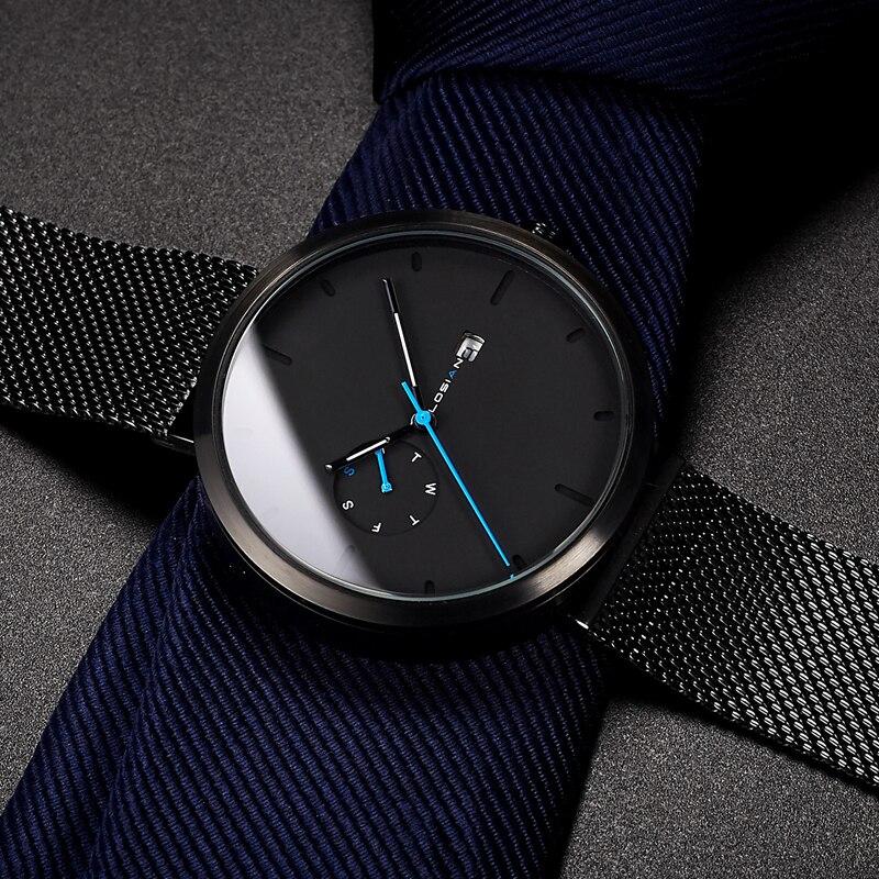 2018 Новая мода Простой Для мужчин часы Водонепроницаемый синий точка Повседневное кварцевые часы Для мужчин с датой Неделя наручные Zegarek Meskie